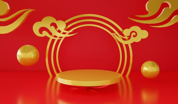 3d rendering empty podium or pedestal display on red and gold background chinese festival theme