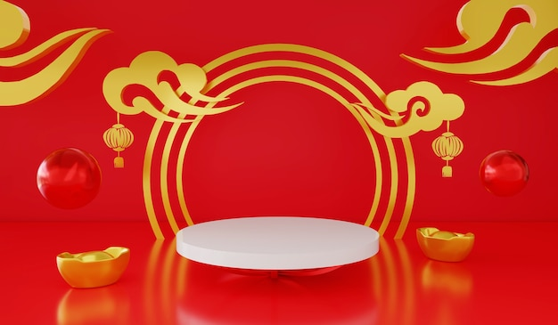 3d rendering empty podium or pedestal display on red and gold product shelf standing chinese theme