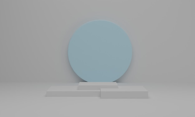 3d rendering. empty podium or pedestal display on white background. abstract minimal scene with geometric.