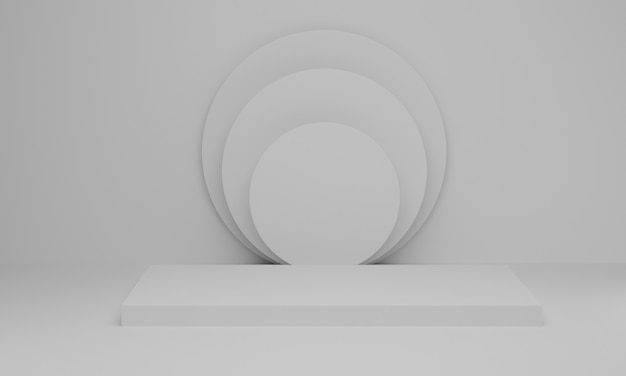 3d rendering. empty podium or pedestal display on white background. blank product shelf standing backdrop. abstract minimal scene with geometric.