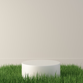 3d rendering empty podium with green grass for product display. premium photo