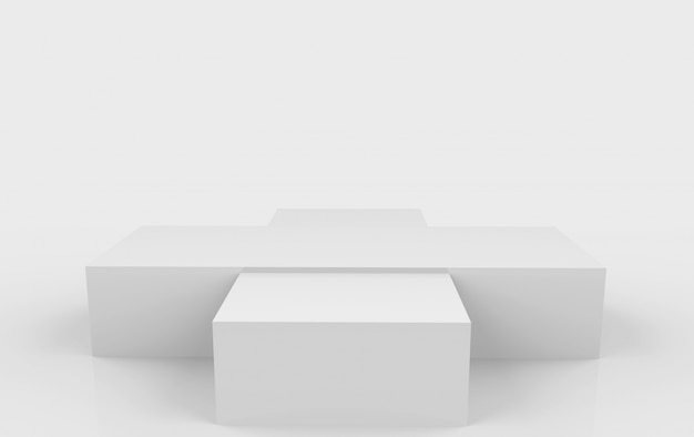 3d rendering. empty rectangle gray box podium stage on white background.