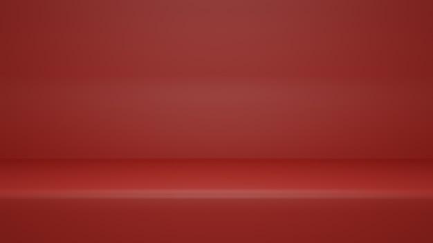 3d-рендеринг, пустой красный цвет фона комнаты студии с копией пространства для отображения продукта или веб-сайта баннера