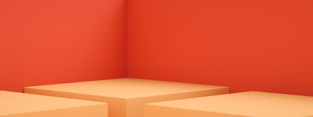 3d rendering of empty room interior design or orange pedestal display over red wall, blank stand for showing product, panoramic image