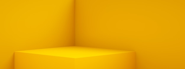3d rendering of empty room interior design or yellow pedestal display,  blank stand for showing product, panoramic image