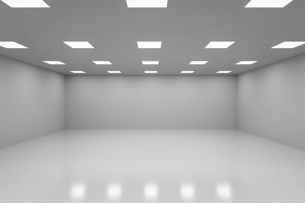3d рендеринг пустой комнаты с белой стеной и полом