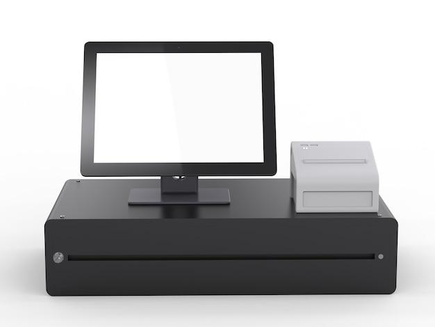 3d rendering empty screen cashier machine or cash register