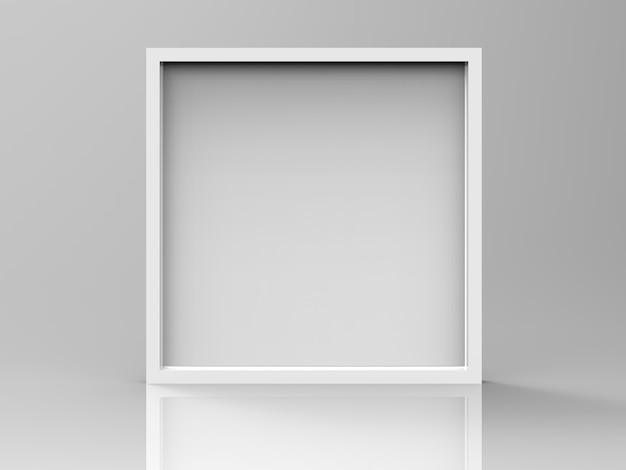 회색 배경에 3d 렌더링 빈 은색 프레임