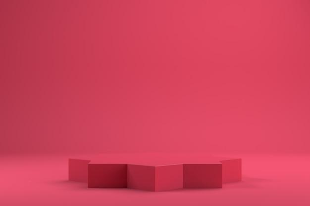 3d рендеринг пустого пространства для дизайна продукта красный premium фотографии