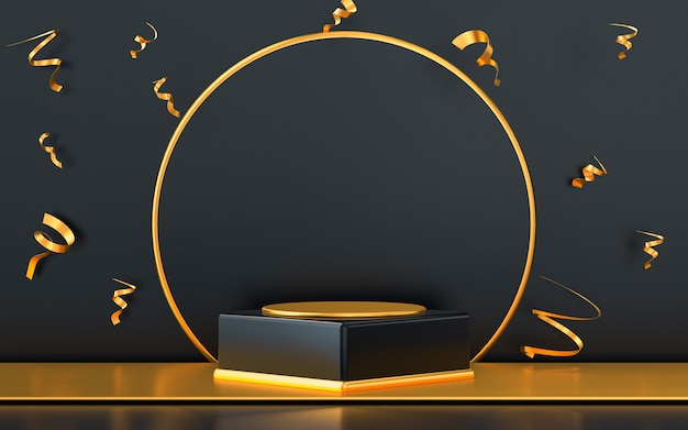 3d rendering empty space podium display with gold confetti