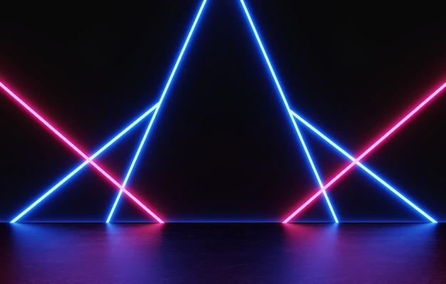 빛나는 네온 레이저 빛으로 검은색과 어두운 디스플레이 제품을 위한 3d 렌더링 빈 공간