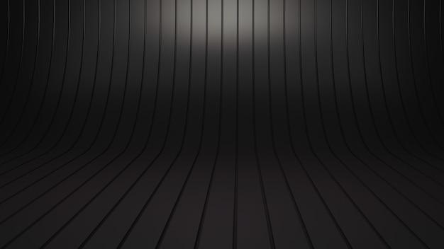 3d-рендеринг пустой комнате студии показать дизайнерскую будку, черный абстрактный дизайн.
