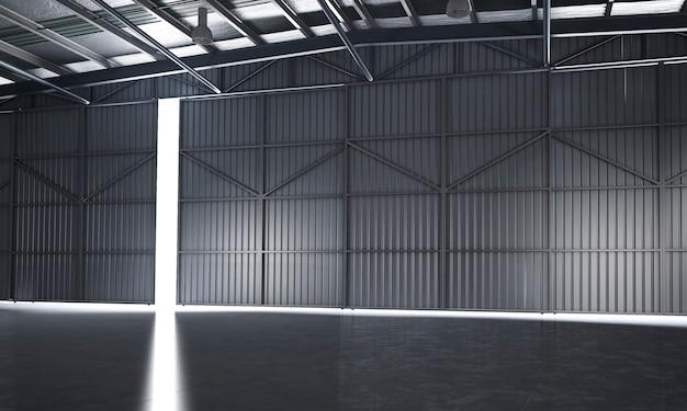 3d rendering of empty warehose
