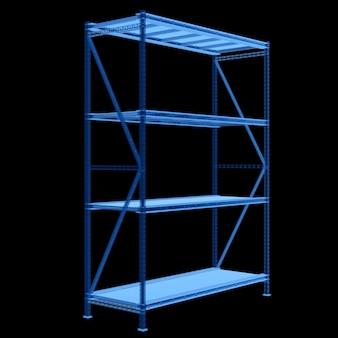 3d рендеринг пустой складской стеллаж рентгеновский снимок изолирован на черном