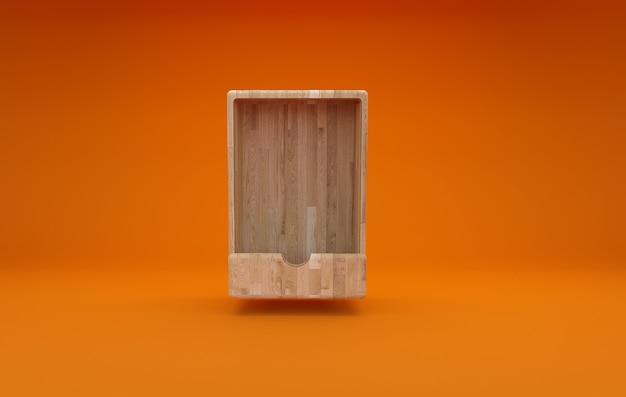 3d визуализация пустой деревянный ящик