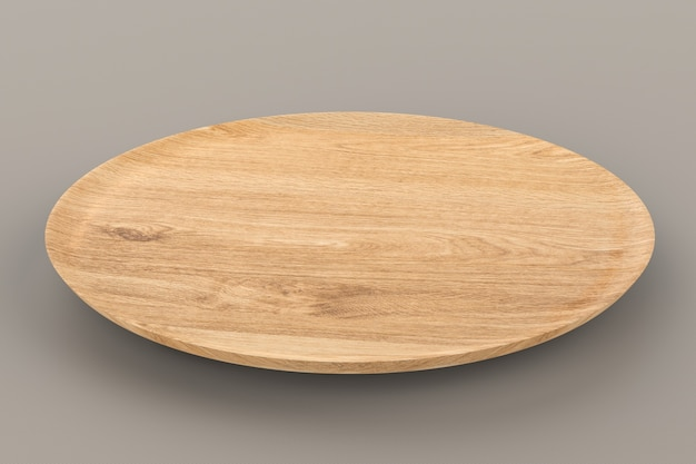 3d рендеринг пустой деревянной тарелки