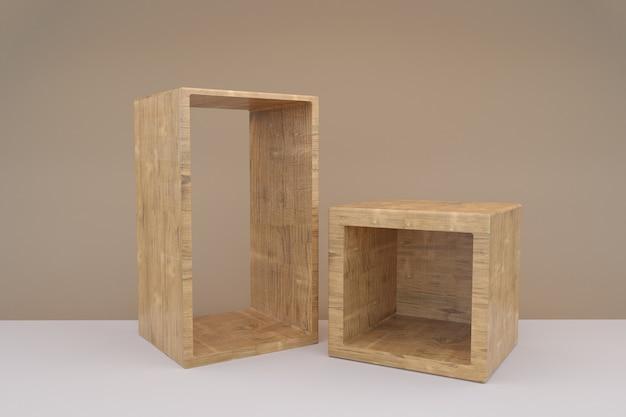 空の木製の表彰台を3dレンダリング