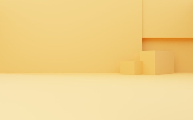 3d rendering of empty yellow abstract geometric minimal background