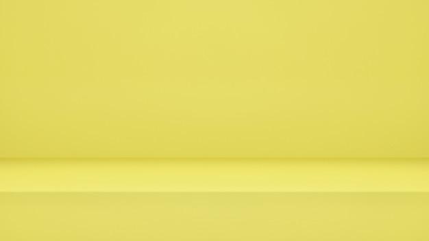 3dレンダリング、ディスプレイ製品またはバナーwebサイト用のコピースペースを備えた空の黄色のスタジオルームの背景