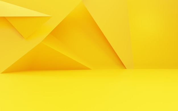 3d rendering of empty yellow gold abstract geometric minimal concept background