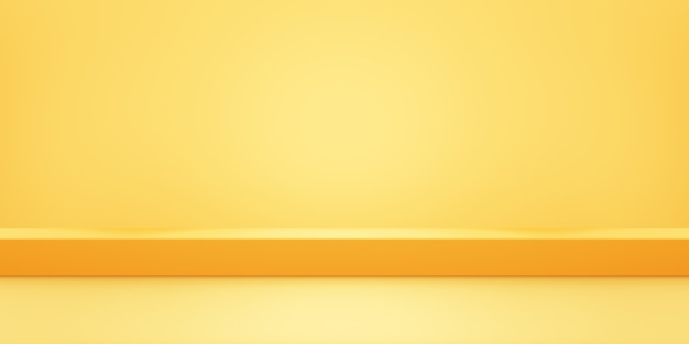 3d rendering of empty yellow orange abstract geometric minimal concept background.
