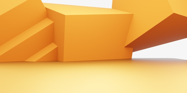3d rendering of empty yellow orange abstract geometric minimal concept