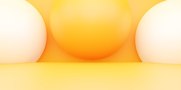3d rendering of empty yellow orange abstract minimal background scene for advertising design