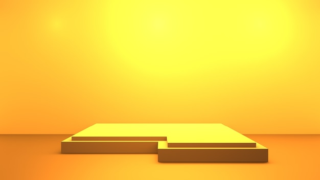 3d rendering of empty yellow orange abstract minimal background with podium