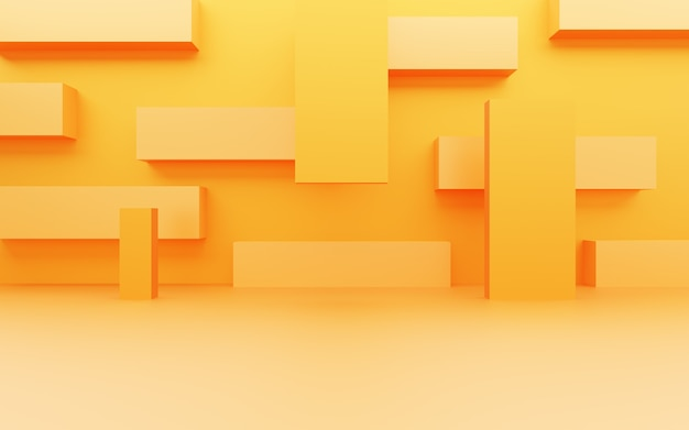 3d rendering of empty yellow orange abstract minimal background