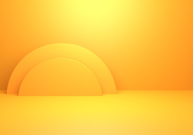 3d rendering of empty yellow orange abstract minimal concept background