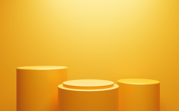 3d rendering of empty yellow orange podium abstract minimal background