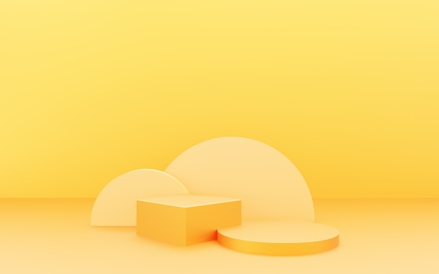 3d rendering of empty yellow podium abstract minimal background