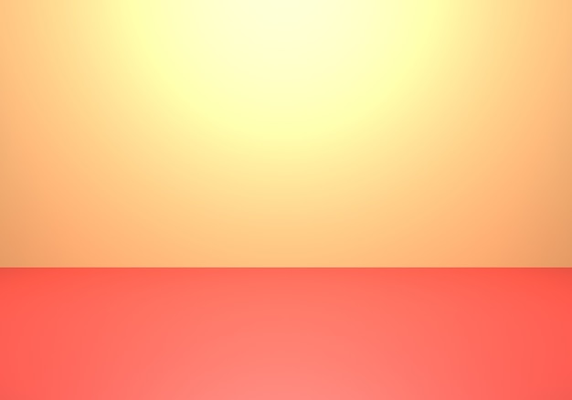 3d rendering of empty yellow and red abstract minimal concept background
