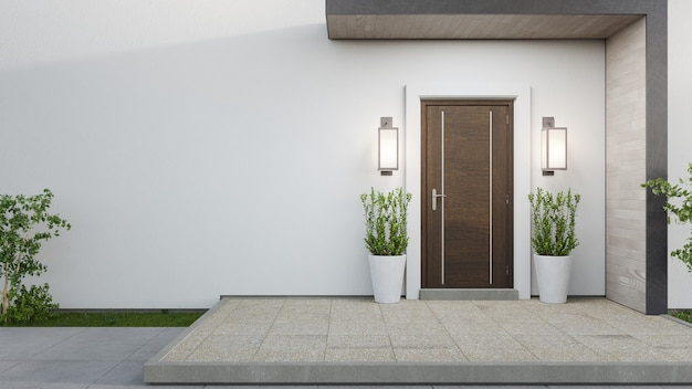 3d rendering of the entrance of a modern house