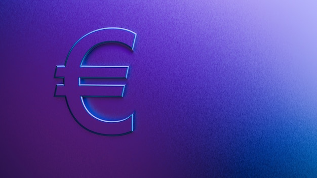 3d rendering of euro sign on a purple background