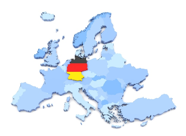 3d rendering of europe map, germany with flag