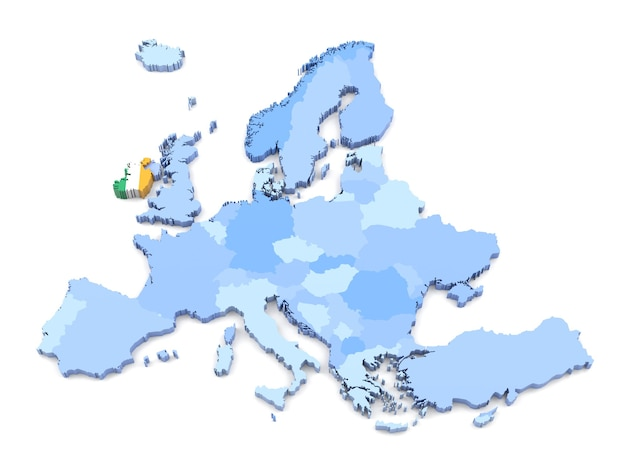 3d rendering of europe map, ireland with flag