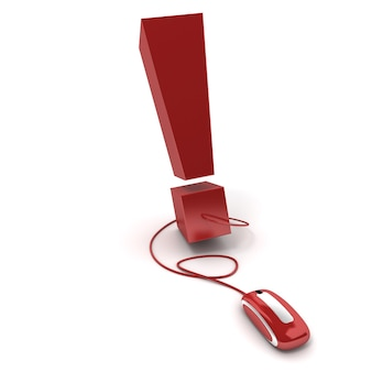 3d rendering of an exclamation mark connected to a computer mouse