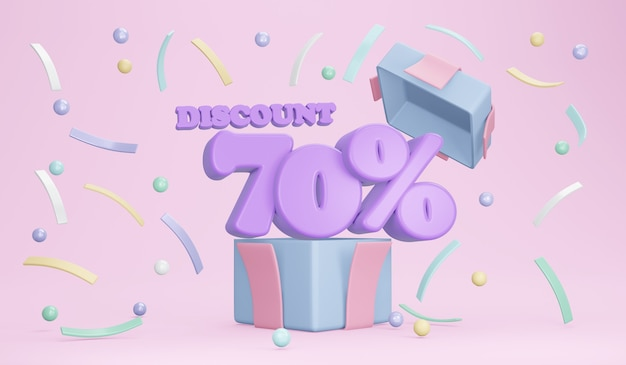 3d rendering of explosion of opened gift box showing discount 70 percentage and confetti