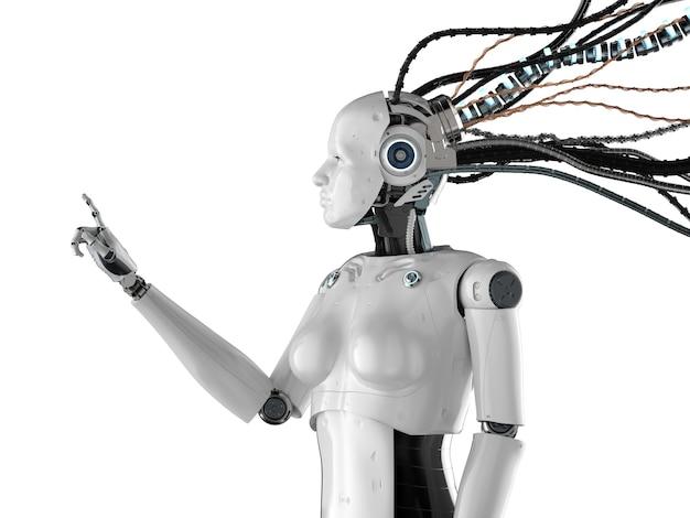 サイエンスフィクションのキャラクターの指先で女性のサイボーグまたはロボットを3dレンダリング