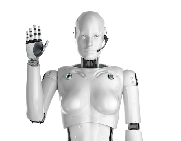 3d rendering female cyborg or robot with headset hand up
