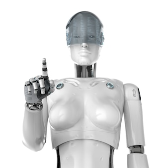 3d rendering female cyborg with goggle finger point