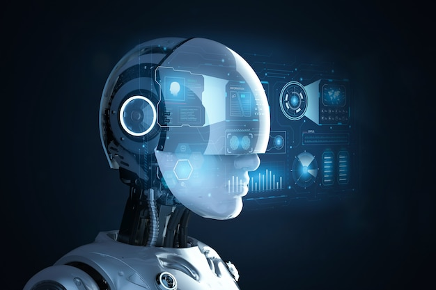3d rendering female cyborg with graphic display