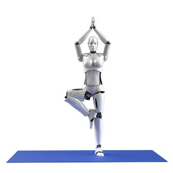 3d rendering female cyborg do yoga on mat