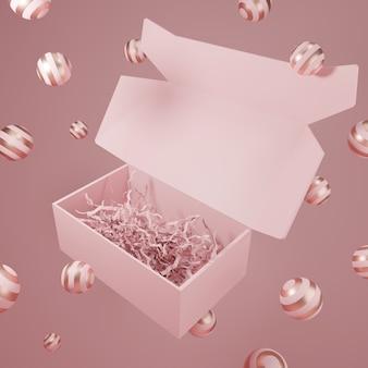 Праздничная пустая розовая картонная коробка для 3d-рендеринга для ухода за кожей или туалетных принадлежностей snack beauty
