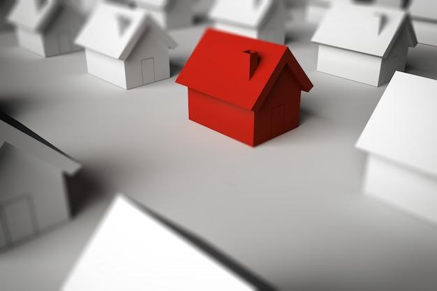 販売のための家を見つける3dレンダリング Premium写真