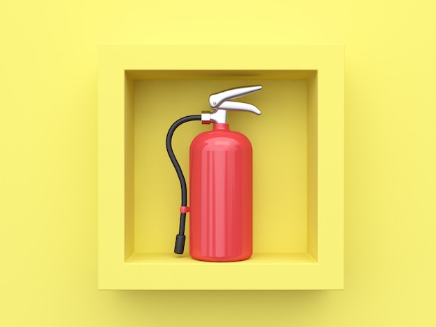3d rendering fire extinguisher inside square frame yellow