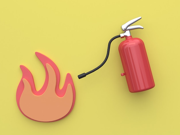 3d rendering fire extinguisher yellow background
