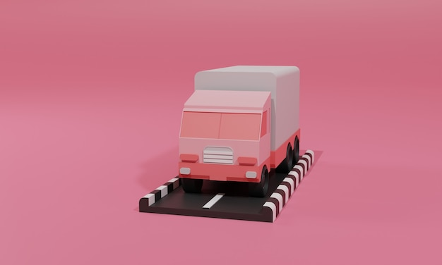 3d rendering flat illustration online shopping store on mobile application of truck cargo delivery. premium illustration