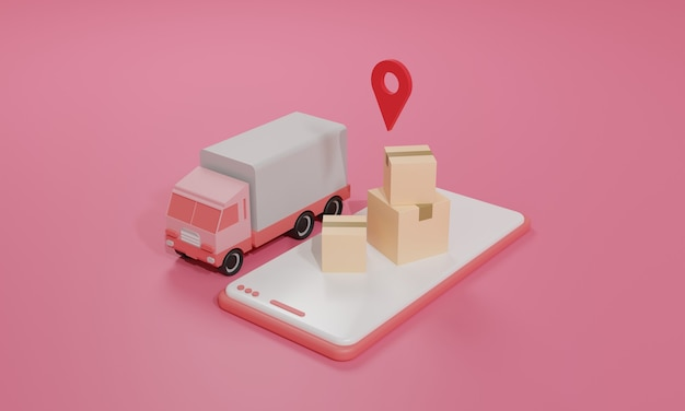 3d rendering flat illustration online shopping store on mobile application and truck cargo shipping of smartphone. premium illustration